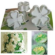 sett med 3 stk fireblad kløver stempel kutter kake dekorere fondant preg verktøy