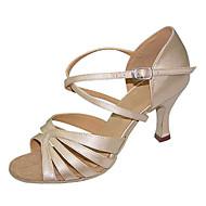 Недорогие -Для женщин Латина Шёлк Сандалии Концертная обувь Крест-накрест На шпильке Бежевый 7,5 см Персонализируемая