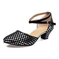 """billige Moderne sko-Dame Moderne Velourisert Sandaler Nybegynner Strå Kubansk hæl Svart og Gull Svart og Sølv 1 """"- 1 3/4"""" 2 """"- 2 3/4"""" Kan spesialtilpasses"""