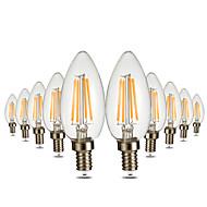 billige Stearinlyslamper med LED-YWXLIGHT® 10pcs 4W 300-400lm E12 LED-lysestakepærer C35 4 LED perler COB Mulighet for demping Dekorativ Varm hvit 110-130V