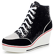 Women's Sneakers Fashion Boots Fall Winter Paillette Suede Casual Outdoor Sequin Lace-up Wedge Heel Platform Black Silver Blushing Pink