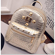 Women Bags All Seasons PU Backpack for Casual Gold Black Silver