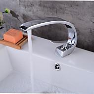 billige Sprinkle®-kraner-Moderne Centersat Utbredt Keramisk Ventil Enkelt Håndtak Et Hull Krom, Baderom Sink Tappekran