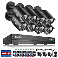 SANNCE® 8CH CCTV Security System 1080P AHD/TVI/CVI/CVBS/IP 5-in-1 DVR with 8pcs 2.0MP Cameras No HDD