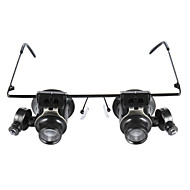 Glasses Type 20X Magnifier With White Led Light Black 15Mm Double Mirror
