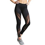 Dámské Střední Prošívaná krajka Sportovní Jednobarevné Legging, Jednobarevné Černá