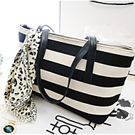 Women Bags All Seasons PU Tote for Casual Outdoor Black/White