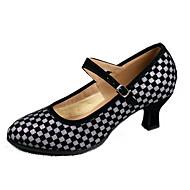 """billige Moderne sko-Dame Moderne Kustomiserte materialer Høye hæler Innendørs Tvinning Kustomisert hæl Svart og Gull Svart og Sølv 2 """"- 2 3/4"""" Kan"""