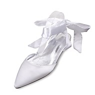 cheap Women's Shoes-Women's Shoes Satin Spring / Summer Comfort / Mary Jane / D'Orsay & Two-Piece Wedding Shoes Flat Heel Pointed Toe Bowknot / Lace-up Blue