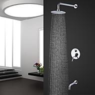 Moderne Moderner Stil Wandmontage Regendusche with  Keramisches Ventil Chrom , Duscharmaturen
