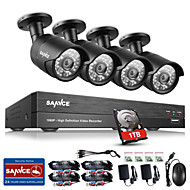 SANNCE® 4CH CCTV Security System Onvif 1080P AHD/TVI/CVI/CVBS/IP 5-in-1 DVR with 4pcs 2.0MP Night Vision Weatherproof Cameras 1TB HDD