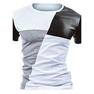 Kortærmet Rund hals Medium Herrer Farveblok Alle årstider Aktiv Afslappet/Hverdag T-shirt,Bomuld Polyester