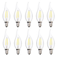 cheap LED Bulbs-BRELONG® 10pcs 2W 200 lm E14 LED Filament Bulbs C35 2 leds COB Dimmable Warm White White AC 220-240V