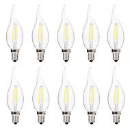 2W E14 フィラメントタイプLED電球 C35 2 LEDの COB 調光可能 温白色 ホワイト 200lm 2700-3200 6000-6500K 交流220から240V