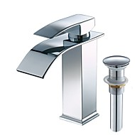 cheap Bathroom Sink Faucets-Bathroom Sink Faucet - Waterfall Widespread Chrome Centerset Single Handle One Hole