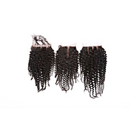 No Tangle Grade 8A Natural Black Kinky Curly Brazilian Human Hair Closures Free/Middle/3 Part 4*4 Swiss Lace Closures Human Hair Extensions/Weaves