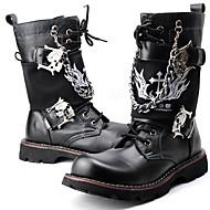 baratos Sapatos Masculinos-Homens Fashion Boots Couro Ecológico Outono / Inverno Botas de Moto Botas Botas Cano Médio Preto / Festas & Noite