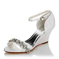 baratos Sapatos Femininos-Mulheres Sapatos Cetim Verão / Outono Conforto Sandálias Salto Plataforma Dedo Aberto Corrente Branco / Casamento / Festas & Noite