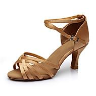 baratos Sapatilhas de Dança-Mulheres Sapatos de Dança Latina Seda Sandália Salto Personalizado Personalizável Sapatos de Dança Nú / Interior / Couro