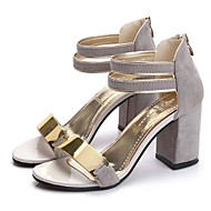 cheap Women's Sandals-Women's Shoes PU Spring Summer Club Shoes Sandals Wedge Heel Open Toe Buckle for Casual Dress Black Beige Gray Red