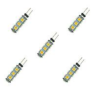 tanie Więcej Kupujesz, Więcej Oszczędzasz-5pcs 2W 135 lm G4 Żarówki LED bi-pin 13 Diody lED SMD 5050 Ciepła biel Biały DC 12V