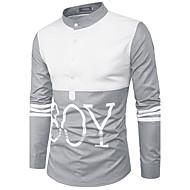 Masculino Camisa Social Casual Simples Estampa Colorida Algodão Colarinho de Camisa Manga Longa