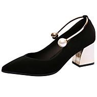 baratos -Feminino Saltos Conforto Solados com Luzes Sapatos formais Pele Real Primavera Verão Casamento Festas & Noite PérolasSalto Grosso Salto