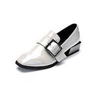 Damer Oxfords Formelle sko Syntetisk Mikrofiber PU Forår Efterår Spænde Tyk hæl Sort Lysegrå 2,5-4,5 cm