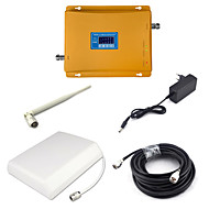 Gsm 900mhz 3g w-cdma 2100mhz dual band signal booster 2g 3g mobiltelefon signal repeater med panel antenne / pisk antenne / 15m kabel /