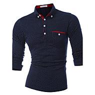 Masculino Polo Esportes Casual Simples Activo Primavera Outono,Poá Algodão Colarinho de Camisa Manga Longa Grossa