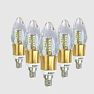 5W E14 LED-lysestakepærer C35 40 leds SMD 2835 Varm hvit Hvit 550-600lm 2800-3200 6000-6500.
