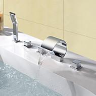 Moderne Udspredt Vandfald Håndbruser inkluderet Messing Ventil Tre Håndtag fem huller Krom , Badekarshaner