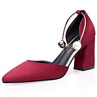 baratos Sapatos Femininos-Mulheres Sapatos Borracha Verão Conforto Sandálias Caminhada Salto de bloco Ponta Redonda Presilha Bege / Rosa claro / Vinho