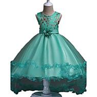 ball kjole asymmetrisk blomst pige kjole - organza ermeløs juvel hals med blomst ved ydn