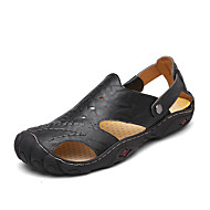Men's Shoes PU Summer Light Soles Sandals Split Joint for Casual White Black Light Brown