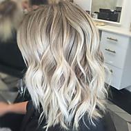 Muodikas ombre väri keskipitkä pitkä kihara hiukset naiselle