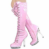 Women's Boots Fashion Boots Winter PU Party & Evening Lace-up Stiletto Heel White Ruby Blushing Pink 5in & over