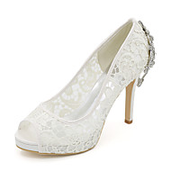 cheap Wedding Shoes-Women's Shoes Lace Tulle Spring Summer Basic Pump Wedding Shoes Stiletto Heel Peep Toe Rhinestone for Wedding Party & Evening White Black