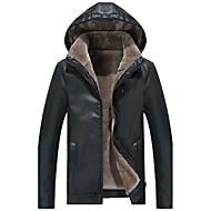 Masculino Jaquetas de Couro Casual Trabalho Simples Activo Boho Moda de Rua Outono Inverno,Sólido Padrão Poliuretano Poliéster Com Capuz