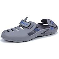 Homens sapatos Couro Ecológico Verão Conforto Sandálias Preto / Cinzento / Azul