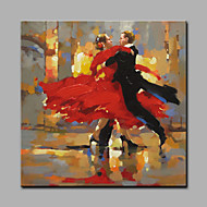cheap Oil Paintings-Hand-Painted People Square, Art Deco/Retro Canvas Oil Painting Home Decoration One Panel