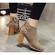 tanie Obuwie damskie-Damskie Obuwie PU Skóra Zima Obuwie w stylu wojskowym Modne obuwie Comfort Buciki na Casual Black Khaki