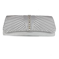 Women Bags Spring/Fall All Seasons Silk Mobile Phone Bag Rhinestone Pleated for Wedding Event/Party Casual Formal Outdoor Silver Apricot