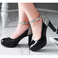 Feminino Sapatos Couro Ecológico Outono Conforto Saltos Para Casual Branco Preto Bege Rosa claro