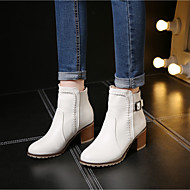 Women's Shoes PU Fall Winter Combat Boots Boots Chunky Heel Booties/Ankle Boots For Casual Beige Blushing Pink