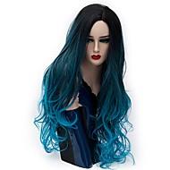 Parrucche sintetiche Per donna Onda naturale Blu Capelli sintetici Capelli schiariti Blu Parrucca Lungo Senza tappo Blu lago