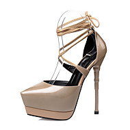 cheap Women's Heels-Women's Shoes Patent Leather Summer Ankle Strap Sandals Stiletto Heel Pointed Toe Lace-up for Dress Party & Evening Red Green Black/Blue