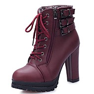Women's Boots Comfort PU Fall Winter Casual Lace-up Chunky Heel Burgundy Black 3in-3 3/4in