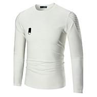 Masculino Camiseta Esportes Feriado Para Noite Casual Bandagem Simples Fofo Activo Outono Inverno,Sólido Algodão Decote RedondoManga