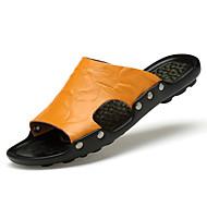 Men's Slippers & Flip-Flops Comfort Spring Summer Cowhide Upstream Shoes Dress Outdoor Black Light Brown 1in-1 3/4in